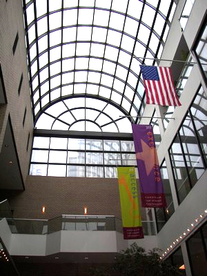 The atrium outside McNally Auditorium The Law Building at Fordham University, Lincoln Center Campus
