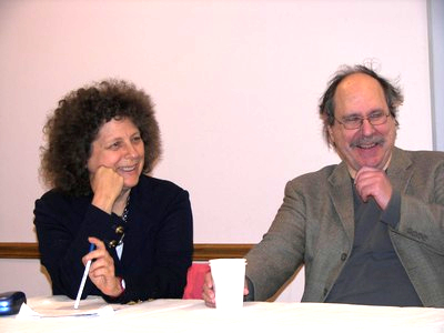Presenters Marleen Barr and Paul Levinson share a laugh
